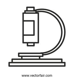 vaccine research science microscope analysis line icon