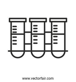 vaccine research science test tube on rack chemistry line icon