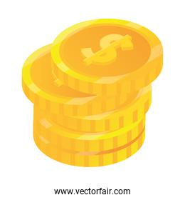 stack of coins money cash isometric