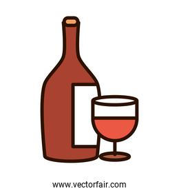 wine bottle and cup celebration event line fill icon