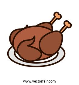 roasted chicken in dish dinner line fill icon
