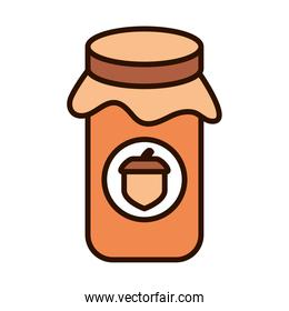 jar with jelly acorn autumn food line fill icon