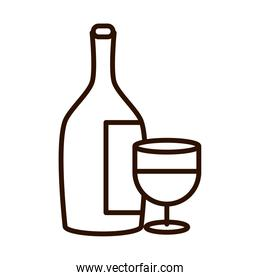 wine bottle and cup celebration event line icon style