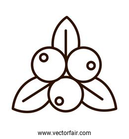 fruits leaves nature fresh line icon style