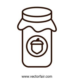 jar with jelly acorn autumn food line icon style