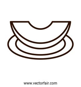 slice pumpkin in the saucer line icon style