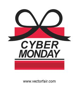 cyber monday, lettering gift box shaped