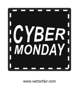 cyber monday, black sticker lettering electronic event