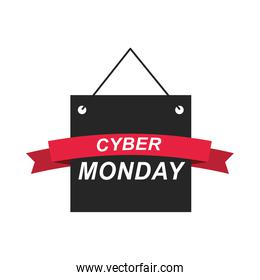 cyber monday, signboard lettering ribbon template design