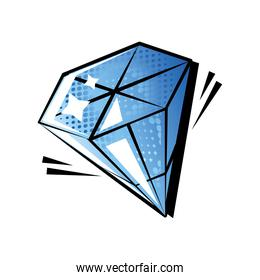 diamond gemstone pop art style on white background