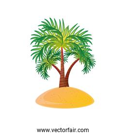 summer vacation travel, tropical palms sand beach detailed style