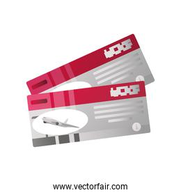 summer vacation travel, boarding passes tickets for traveling by plane detailed style