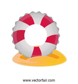 summer vacation travel, lifebuoy in the beach sand detailed style