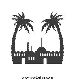 cityscape buildings with palms silhouette scene