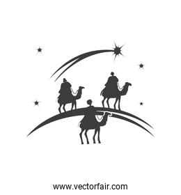nativity, three wise men on camels, traditional celebration religious