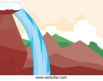 landscape view side rocky mountains waterfall