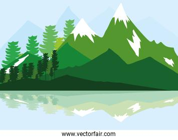 landscape forest peaks snowy rocks and beautiful reflection