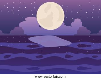 landscape view to full moon at the night on sea, reflection on the water