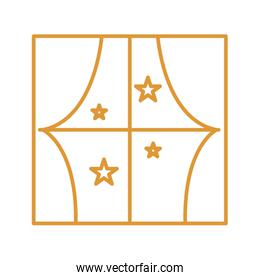 window with stars line style icon vector design