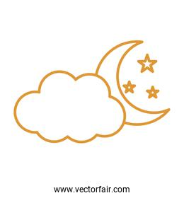 moon with cloud and stars line style icon vector design