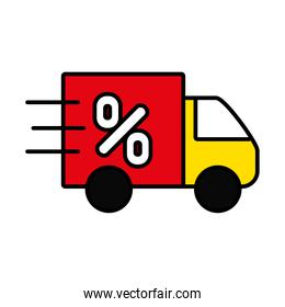 black friday concept, cargo truck with percentage symbol icon, line and fill style