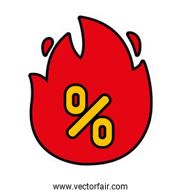 flame with percentage icon, line and fill style