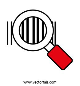 magnifying glass with bars code, line and fill style