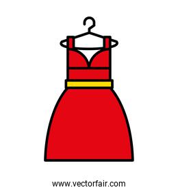 women dress on hanger icon, line and fill style