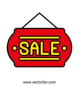 sale door sign icon, line and fill style