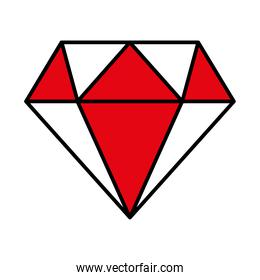 diamond gem icon, line and fill style icon