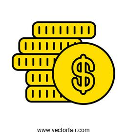 money coins icon, line and fill style