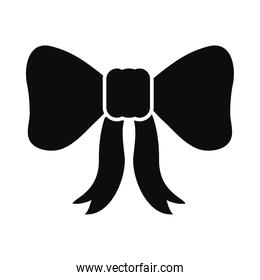 decorative bow icon, silhouette style