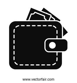 icon of wallet with money, silhouette style