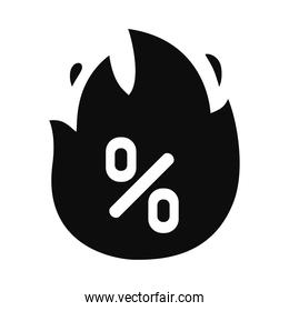 flame with percentage icon, silhouette style