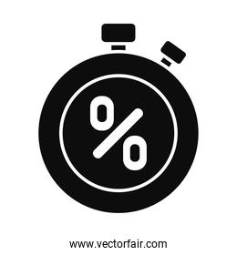 chronometer with percentage icon, silhouette style