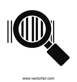 magnifying glass with bars code, silhouette style