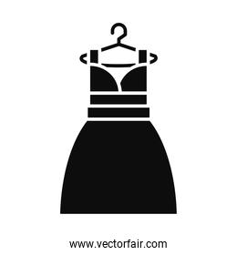 women dress on hanger icon, silhouette style