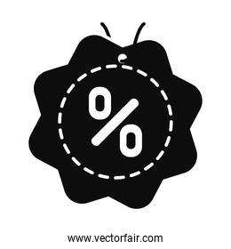 seal with percentage symbol icon, silhouette style