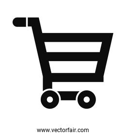 shopping cart icon, silhouette style