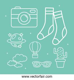 cute socks camera and stickers line style icon set vector design