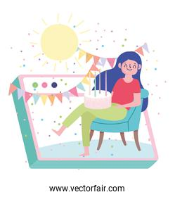 online party, woman sitting with cake pennants website celebrating