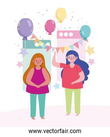 online party, young women happy celebration birthday balloons and pennants decoration