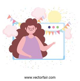 online party, website woman bunting decoration