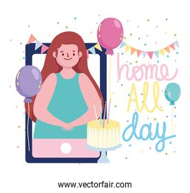 online party, smartphone woman video with cake balloons decoration
