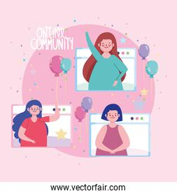 online party, people festive celebrating birthday party