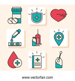 vaccine research science, set icons medicine heart syringe and blood line and fill