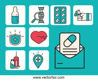 vaccine research, medical science medicine prescription pharmacy, set icons line and fill