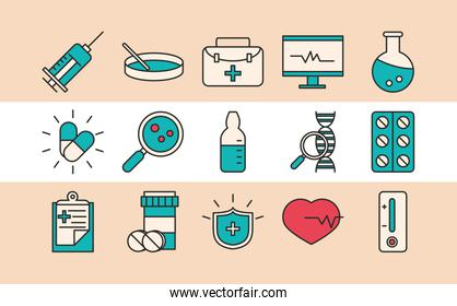 vaccine research, chemistry laboratory science medical set icons line and fill