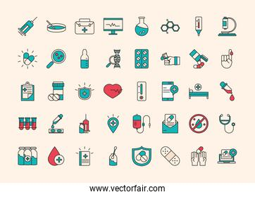 vaccine research science, collection icons medical equipment chemsitry and more, line and fill style