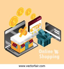 online shopping, laptop smartphone store gift bank card money isometric